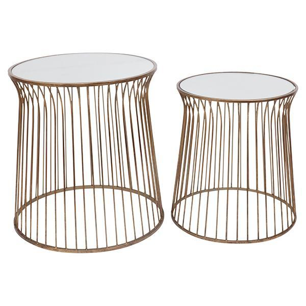 Gold Mirrored Side Table Set