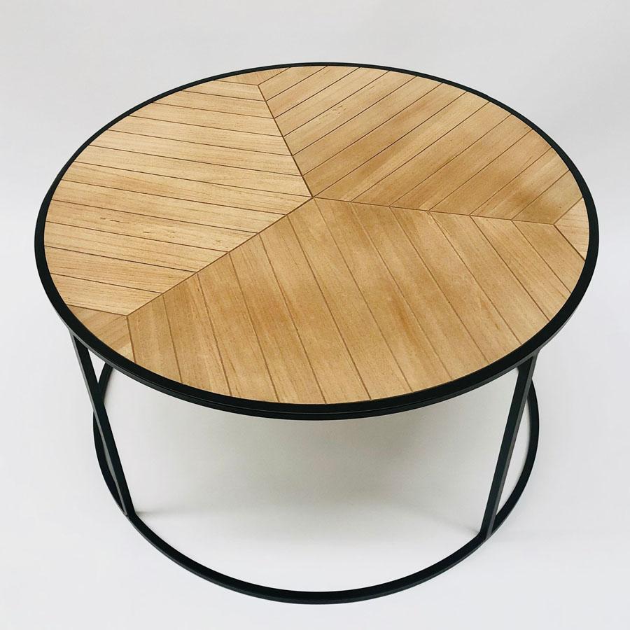 Herringbone Round Coffee Table