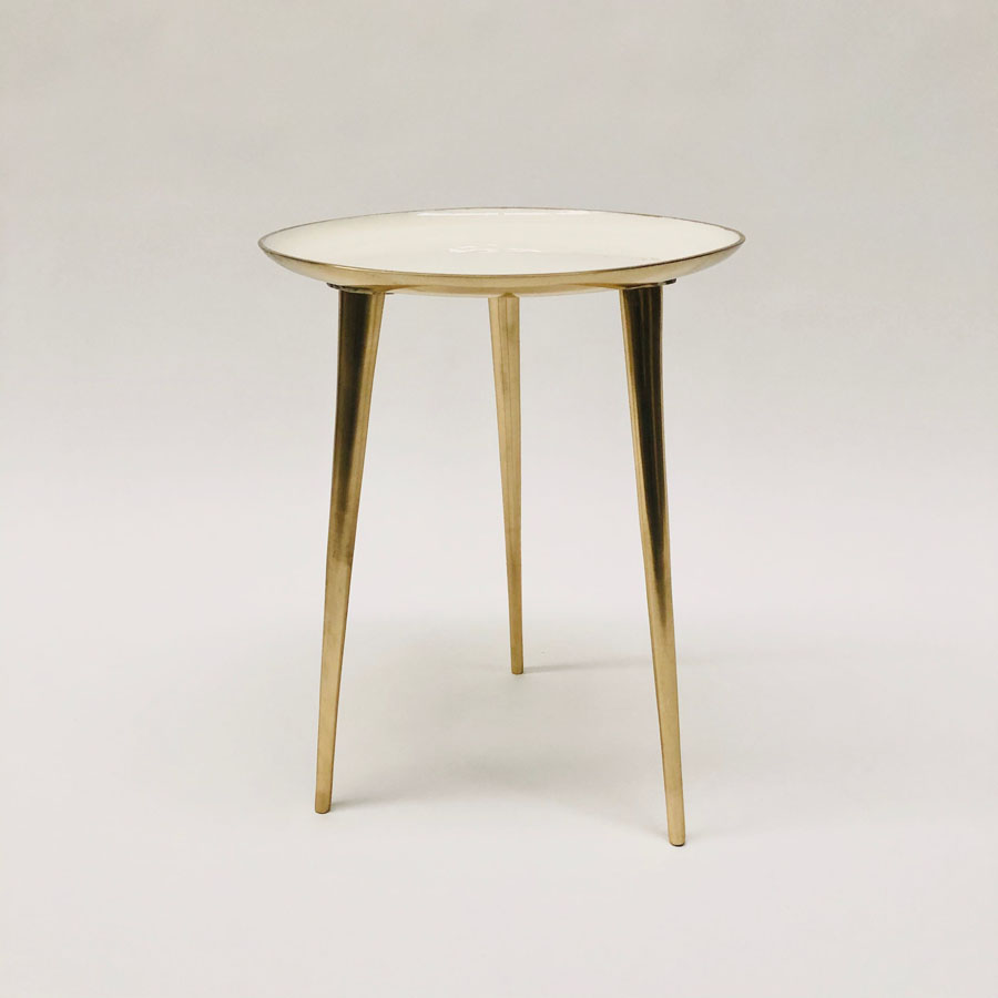 Moonshine Side Table Cream & Gold