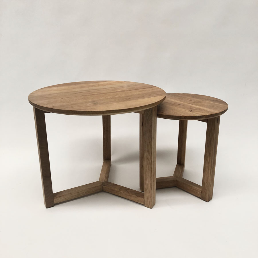 Natural Oak Coffee Table Set