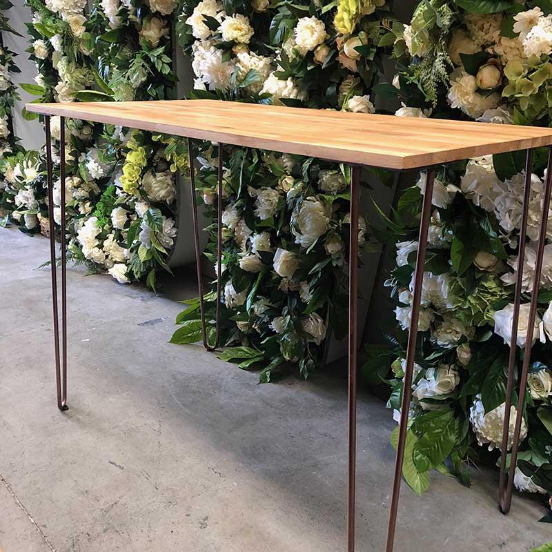 Oak Copper Gold Hairpin Table